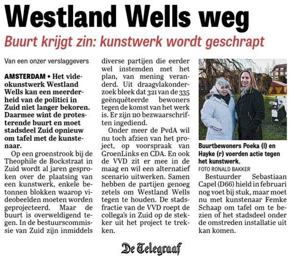 2016 04 06 a Telegraaf Westland Wells Weg