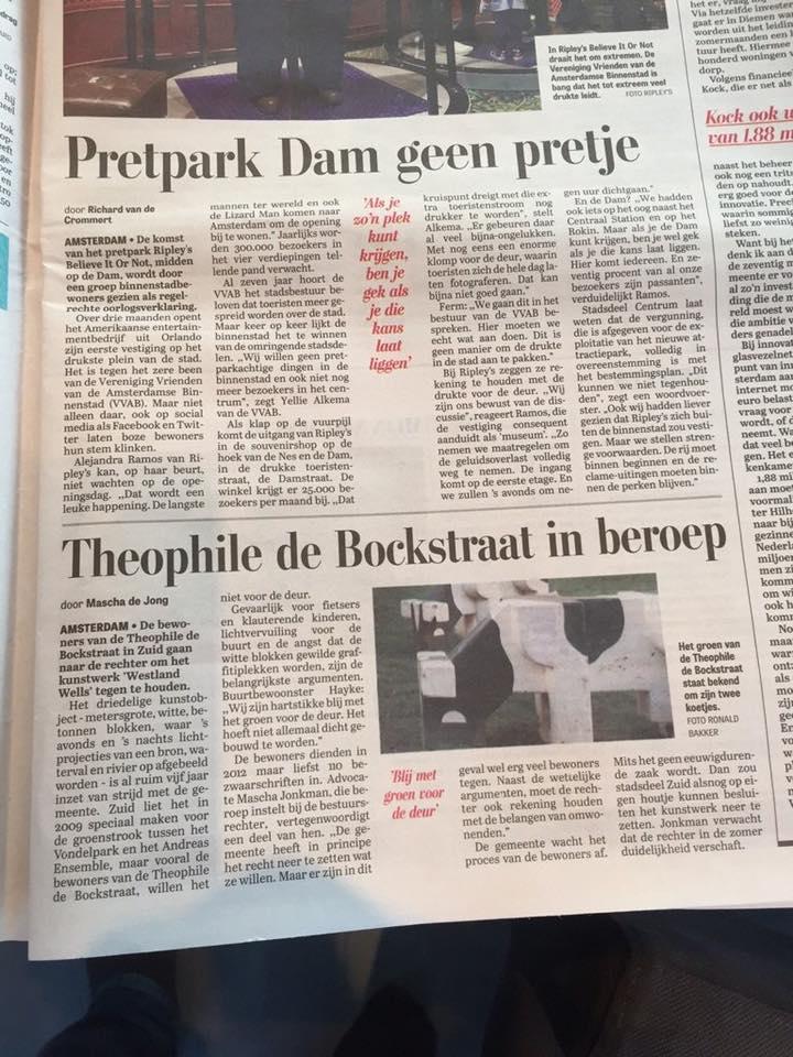 2016 04 16 Telegraaf TDBstraat in beroep